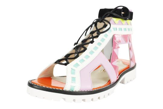 Sophia Webster Open Toe Lace Up Patterned Retro Cut Out Multi-Color Sandals