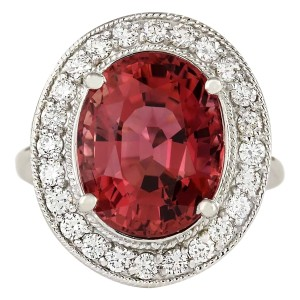 Fashion Strada 9.50 CTW Natural Pink Tourmaline And Diamond Ring 14k Solid White Gold