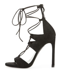 Stuart Weitzman Wrap Gisele Lace-up Black Sandals