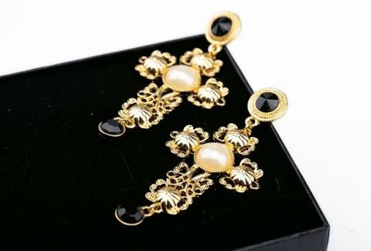 Hollow Out Cross statement earrings Gold Hollow Out Pearl Rhinestone Crystal cross drop Statement earrings