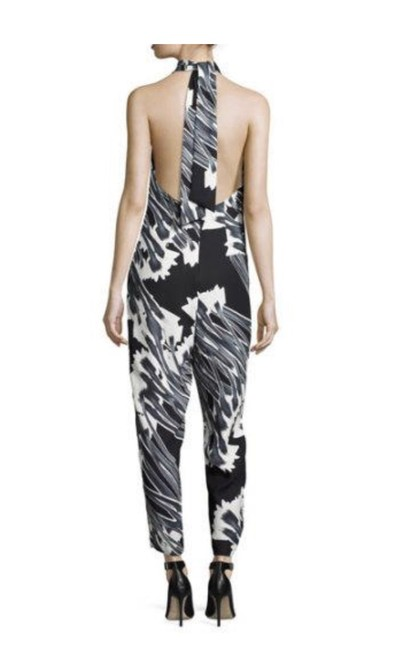 Item - Black White & Gray Halter-neck Graphic Pint Romper/Jumpsuit
