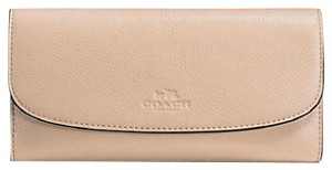 Coach F56488 New COACH PEBBLE LEATHER CHECKBOOK WALLET Beechwood COLOR