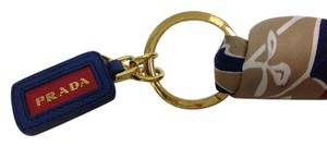 Prada Navy printed twilly key chain and bag charm