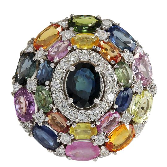 Preload https://img-static.tradesy.com/item/21258819/multicolor-1083-carat-natural-ceylon-sapphire-14k-white-gold-diamond-ring-0-0-540-540.jpg