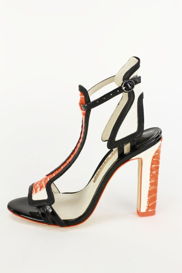 Sophia Webster Orange Black Ankle Strap Chunky Heel Open Toe Multi-Color Pumps
