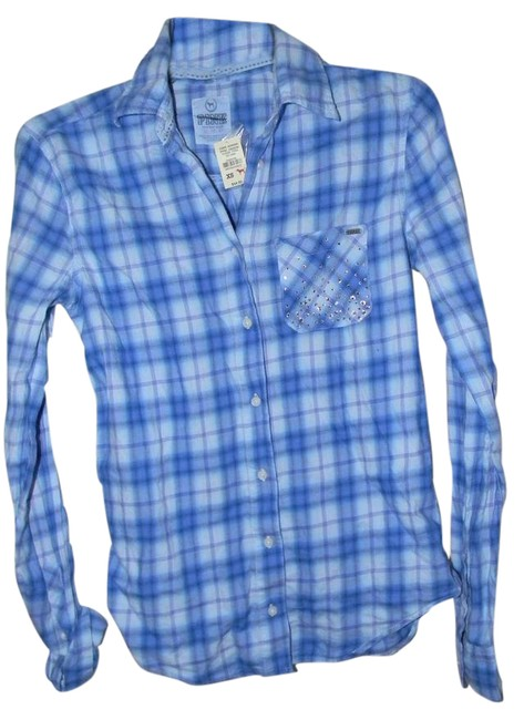 Preload https://img-static.tradesy.com/item/21258858/victoria-s-secret-blue-plaid-rhinestone-decor-shirt-button-down-top-size-8-m-0-1-650-650.jpg