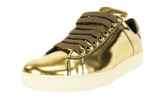 Tom Ford Metallic Lace Up Women Gold Athletic