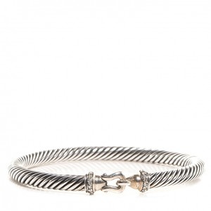 David Yurman Sterling Silver Pave Diamond 5 mm Cable Buckle Bracelet
