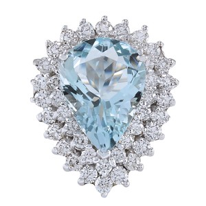 Fashion Strada 5.90 Carat Natural Aquamarine 14K White Gold Diamond Ring