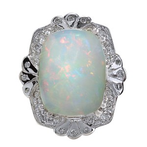 Fashion Strada 8.92 Carat Natural Opal 14K White Gold Diamond Ring