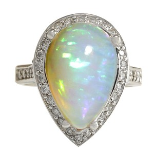 Fashion Strada 7.70CTW Natural Opal And Diamond Ring In 14K Solid White Gold