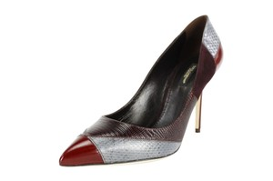 Dolce&Gabbana Pointed Toe Leather Stiletto Patterned Capped Toe Red Pumps