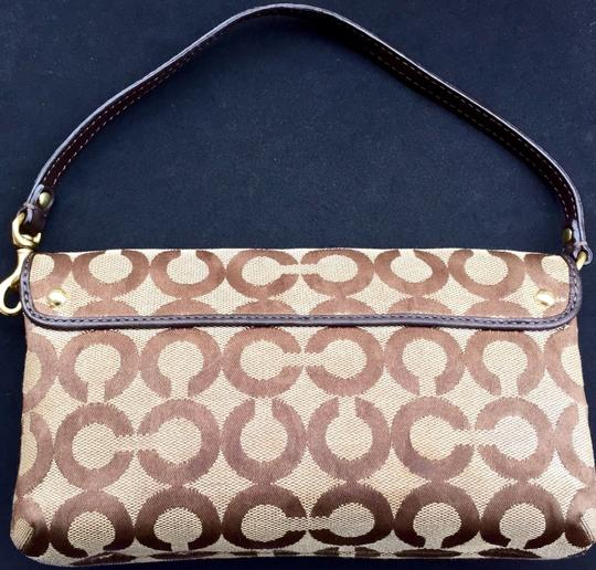 Coach Wristlet in Brown Gold Tan Pink