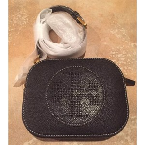 Tory Burch Leather Pebbled Casual Formal Perforated Cross Body Bag