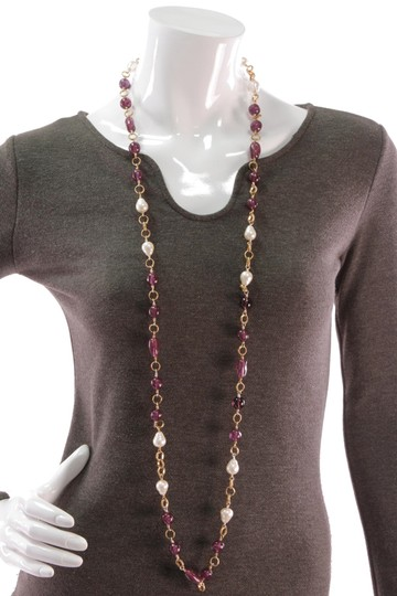 Chanel Chanel Vintage Gold-Tone Faux Pearl & Gripoix Long Necklace