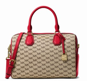 Michael Kors Satchel in Natural/Bright Red