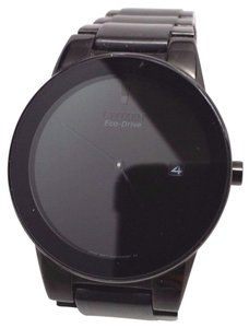 Citizen Axiom Eco Drive Black Dial Black Ion-plated Mens Watch AU1065-58E Fit
