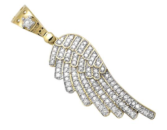Other Single Angel Wing Shape 1.5 Inch Diamond Pendant Charm 0.75ct