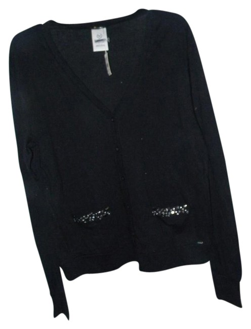 Victoria's Secret Black 95% Cotton 5% Spandex Studded Pockets Cardigan Size 10 (M) Victoria's Secret Black 95% Cotton 5% Spandex Studded Pockets Cardigan Size 10 (M) Image 1