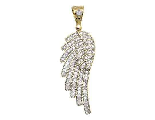 Other Single Angel Wing Shape 2 Inch Real Diamond Pendant Charm 1.50ct