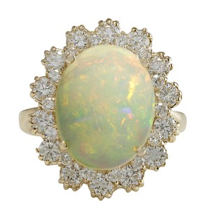 Fashion Strada 6.26CTW Natural Opal And Diamond Ring In 14K Solid Yellow Gold