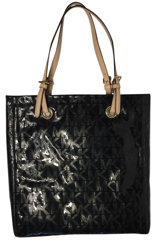 Michael Kors Handbag North South Signature Mk Tote In Mirror Metallic Black