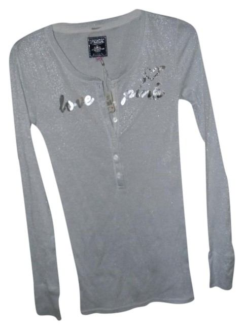Item - Silver Cotton Metallic Spandex Blend Pink Henley Tee Shirt Size 6 (S)