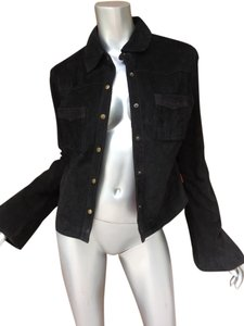 Roxy Suede Leather black Leather Jacket