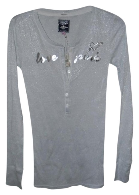 Item - Silver Cotton Metallic Spandex Blend Pink Henley Tee Shirt Size 10 (M)