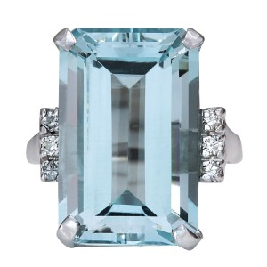 Fashion Strada 16.42CTW Natural Blue Aquamarine Diamond Ring 14K Solid White Gold