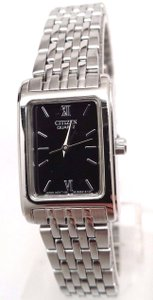 Citizen EJ5850-57E Women's Stainless Steel Black Dial Rectangular Analog Watch
