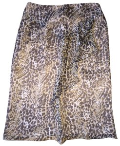Blumarine Silk Pencil Skirt Leopard