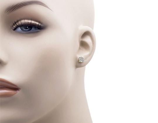 Other 6MM Round Halo Cluster Genuine Diamond Stud Earring 0.40ct