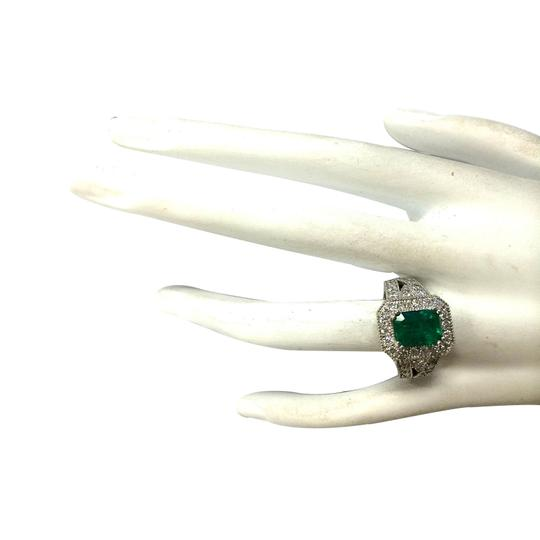 Fashion Strada 3.23CTW Natural Colombian Emerald And Diamond Ring 14K Solid White Gol