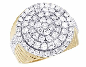 Other Men's 10K Yellow Gold Real Diamond Round Cluster Pinky Ring 2 3/5 CT 2