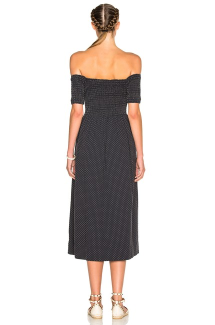 Navy Maxi Dress by The Great. Off Shoulder Cotton Midi
