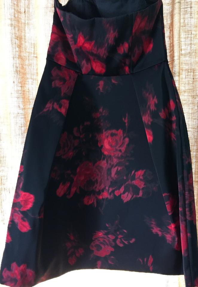 Lord & Taylor Black and Red 424 Mid-length Cocktail Dress Size 12 (L ...