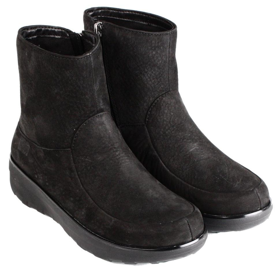 3676cca71 FitFlop Black Womens Loaff Shorty Zip Nubuck Ankle Pull On Boots Booties