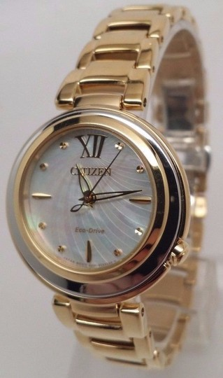 Citizen Eco-Drive L Sunrise Gold Tone Mother of Pearl Womens Watch EM0334-54D