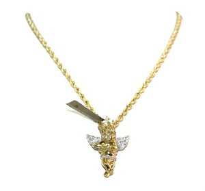 Other 26 in long 10 K Fine Yellow Gold Rope Chain with Diamond Angel Pendant
