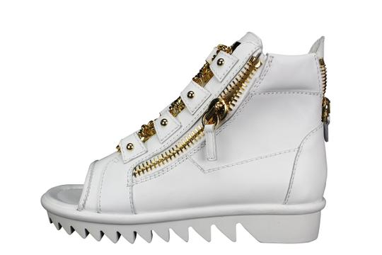 Giuseppe Zanotti Gold Hardware Open Toe Zip Up Leather White Flats