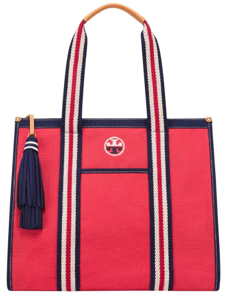 43d0f452e7c Tory Burch Preppy Sporty Summer Logo Nautical Tote in Red Navy Image 0 ...