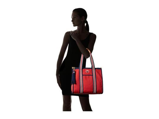 Tory Burch Preppy Sporty Summer Logo Nautical Tote in Red Navy