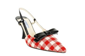 Prada Checkered Patterned Pointed Toe Slingback Bows Red Pumps