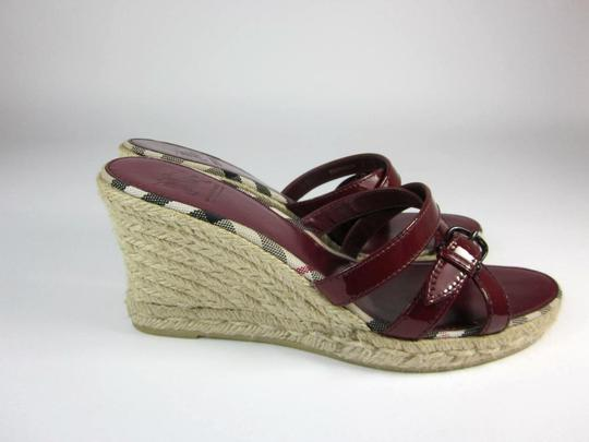 Burberry Leather Wedge Nova Red Sandals