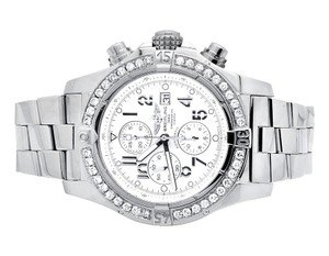 Breitling Custom A13370 Super Avenger White Dial Stainless Steel with 4.5 Ct