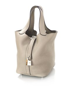 Herms Leather Palladium Clemence Tote in Gris