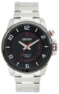 Seiko SK A553 Kinetic Black Dial Stainless Watch
