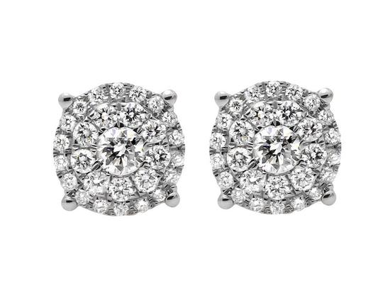 Other Solitaire Accent 8MM Halo Flower Round Diamond Stud Earring 1Ct