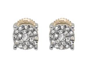 Other Solitaire Accent 6MM Halo Flower Diamond Stud Earring 1/2CT
